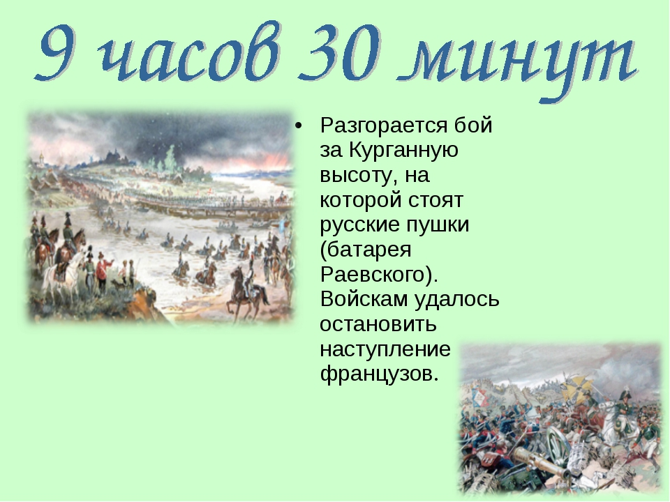 Разгорается бой за Курганную высоту, на которой стоят русские пушки (батарея...
