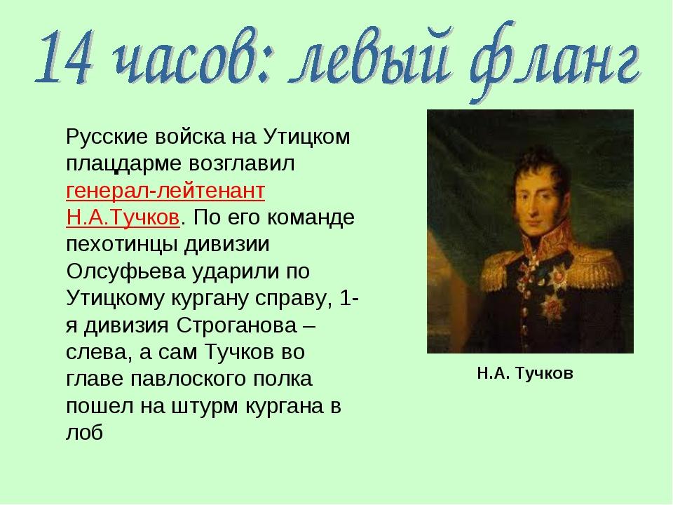 Русские войска на Утицком плацдарме возглавил генерал-лейтенант Н.А.Тучков....