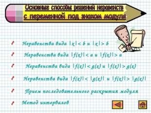 Неравенства вида |x|< b и |x|> b Неравенства вида |f(x)|< a и |f(x)|> a Нера