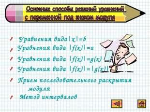 Уравнения вида|х|=b Уравнения вида |f(x)|=a Уравнения вида |f(x)|=g(x) Уравне