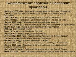 Биографические сведения о Наполеоне Хронология 15 августа 1769 года - На остр