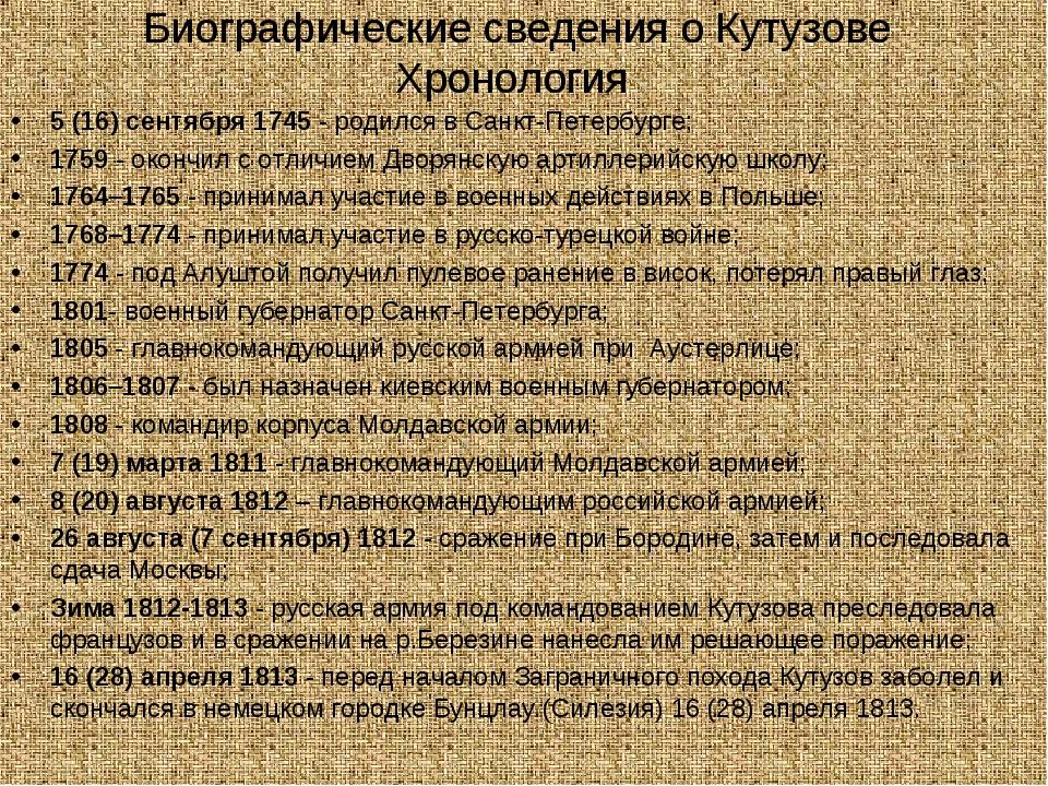 Биографические сведения о Кутузове Хронология 5 (16) сентября 1745 - родился...