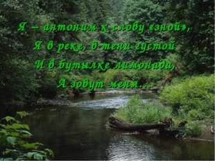 Я – антоним к слову «зной», Я в реке, в тени густой И в бутылке лимонада, А з