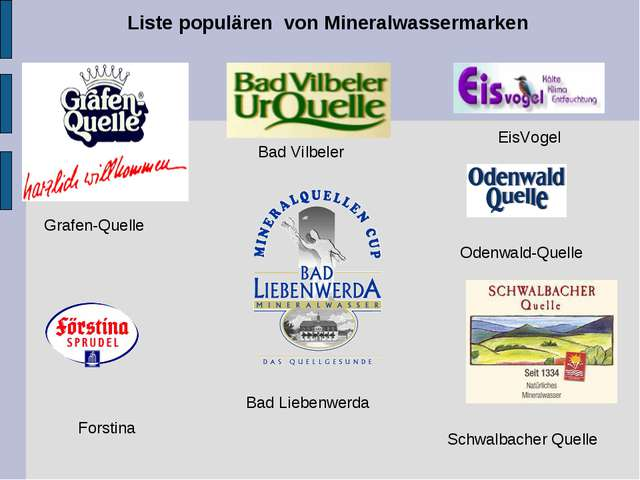 Liste populären von Mineralwassermarken Bad Liebenwerda Bad Vilbeler Odenwald...