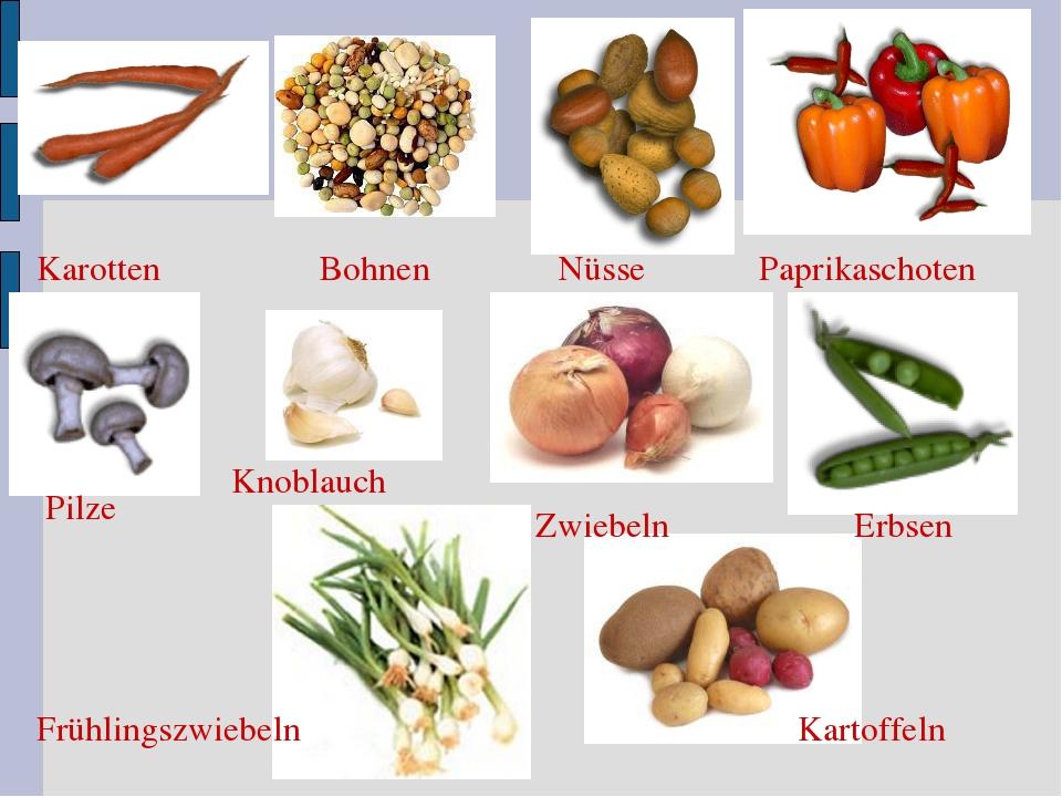 Karotten Nüsse Pilze Erbsen Paprikaschoten Frühlingszwiebeln Bohnen Zwiebeln...