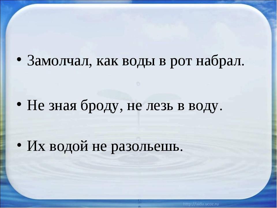 Замолчал, как воды в рот набрал. Не зная броду, не лезь в воду. Их водой не р...