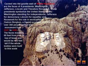 Carved into the granite wall of Mount Rushmore are the faces of 4 presidents