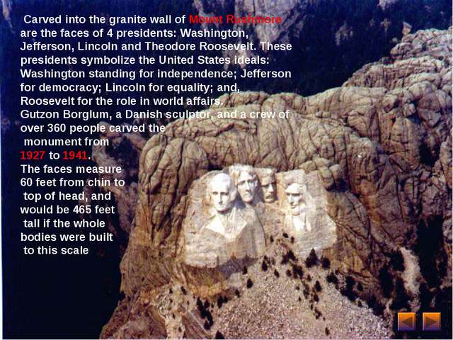 Carved into the granite wall of Mount Rushmore are the faces of 4 presidents...
