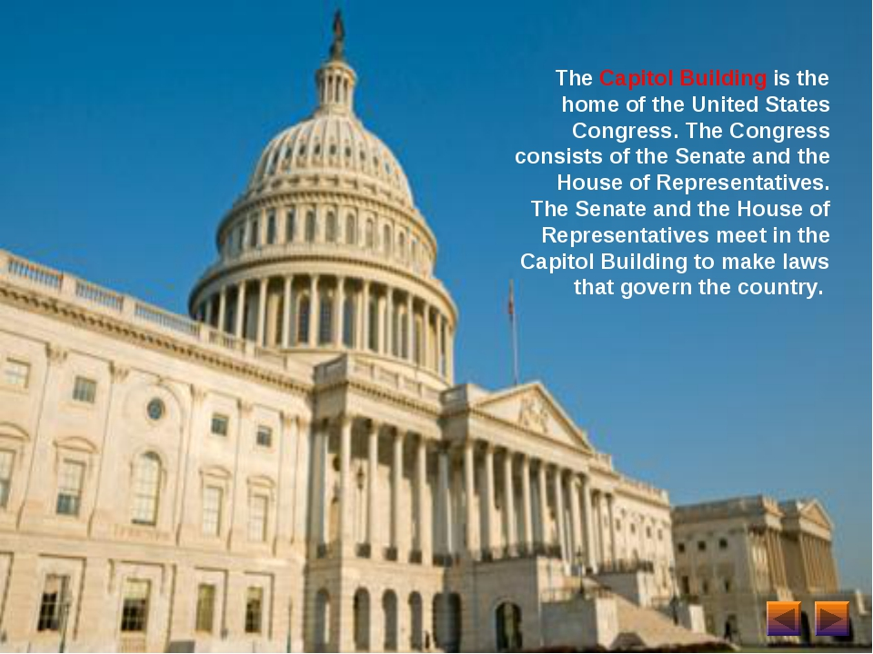 The Capitol Building is the home of the United States Congress. The Congress...