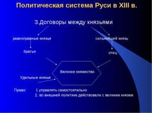 Политическая система Руси в XIII в. 3.Договоры между князьями равноправные кн