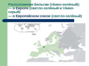 Расположение Бельгии (тёмно-зелёный): — в Европе (светло-зелёный и тёмно-серы