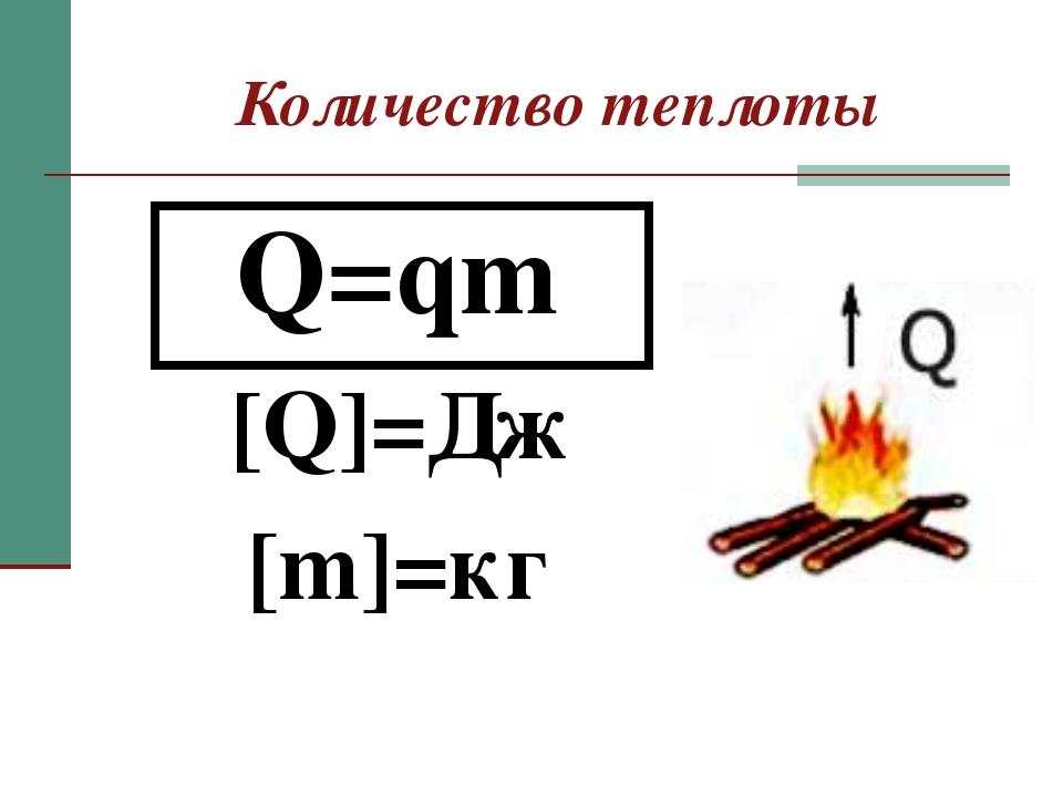 Количество теплоты Q=qm [Q]=Дж [m]=кг
