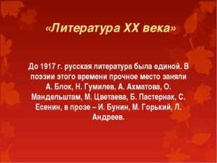 «Литература ХХ века» До 1917 г. русская литература была единой. В поэзии это