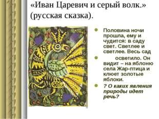 «Иван Царевич и серый волк.» (русская сказка). Половина ночи прошла, ему и чу