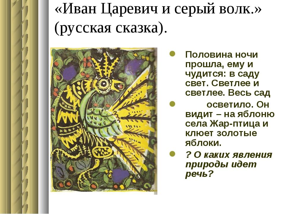 «Иван Царевич и серый волк.» (русская сказка). Половина ночи прошла, ему и чу...