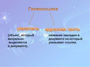 (объект, который визуально выделяется в документе). название закладки в докум