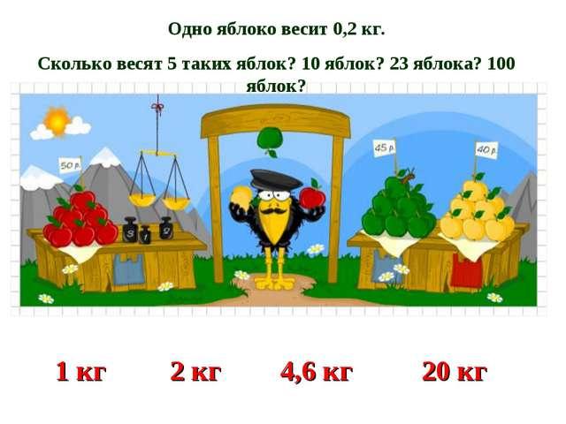 Одно яблоко весит 0,2 кг. Сколько весят 5 таких яблок? 10 яблок? 23 яблока? 1...