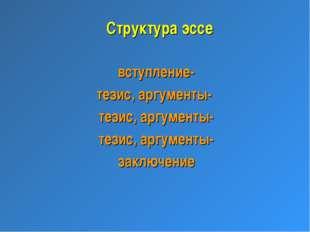 Структура эссе вступление- тезис, аргументы- тезис, аргументы- тезис, аргумен