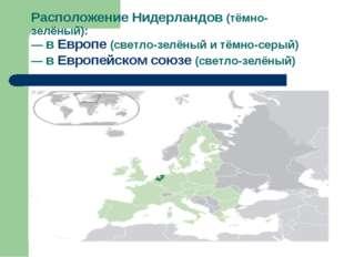 Расположение Нидерландов (тёмно-зелёный): — в Европе (светло-зелёный и тёмно-