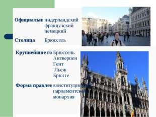 Официальные языкинидерландский французский немецкий СтолицаБрюссель