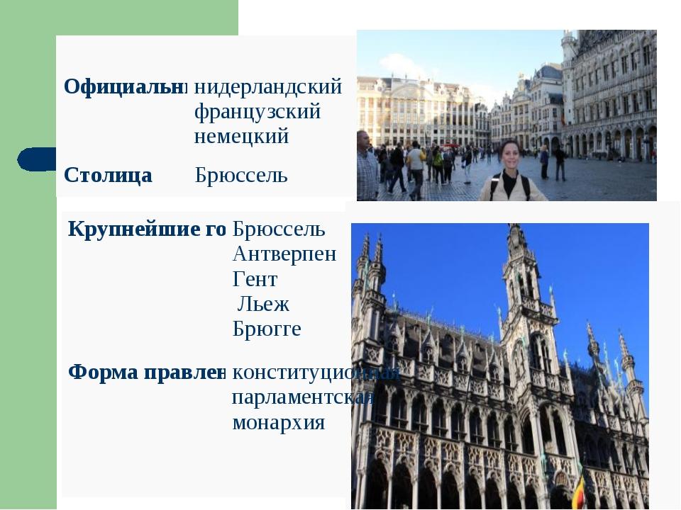 Официальные языкинидерландский французский немецкий СтолицаБрюссель...