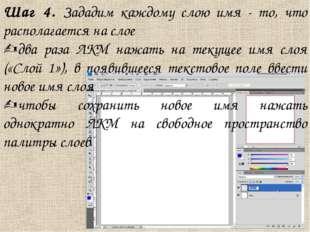 Шаг 4. Зададим каждому слою имя - то, что располагается на слое два раза ЛКМ