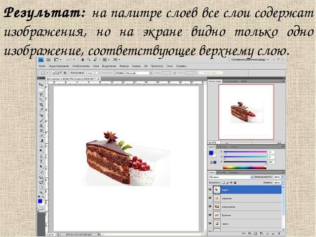 Результат: на палитре слоев все слои содержат изображения, но на экране видно...