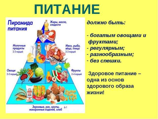 ПРАВИЛЬНОЕ ПИТАНИЕ должно быть: - богатым овощами и фруктами; - регулярным; р...