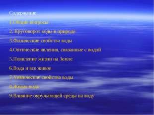 Содержание Общие вопросы Круговорот воды в природе Физические свойства воды О
