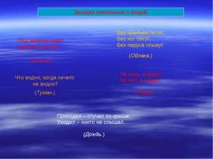 Загадки связанные с водой Под землею ходит, На небо смотрит (Родник.) Что вид