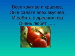Всех круглее и краснее, Он в салате всех вкуснее, И ребята с древних пор Очен