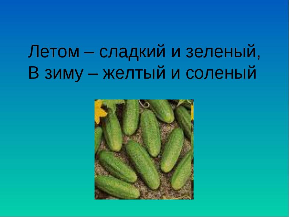 Летом – сладкий и зеленый, В зиму – желтый и соленый