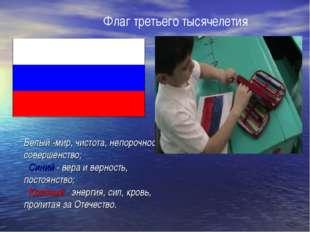 Флаг третьего тысячелетия Белый -мир, чистота, непорочность, совершенство; Си