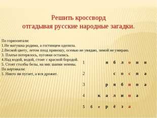 Решить кроссворд отгадывая русские народные загадки. По горизонтали: 1.Не мат