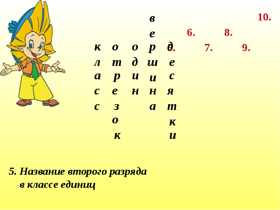 7. 6. 5. 8. 9. 10. 5. Название второго разряда в классе единиц к л а с с о з...