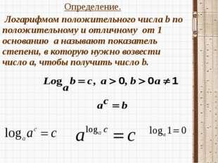 Определение. Определение.  Логарифмом положительного числа b по положительн