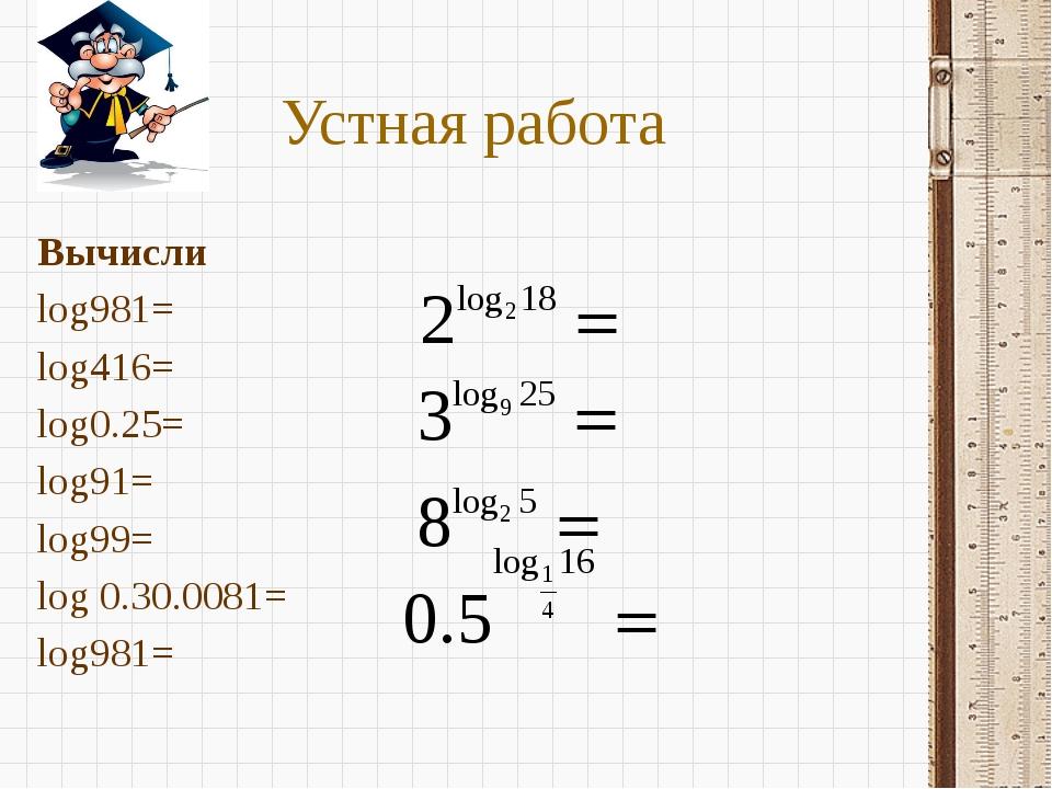 Устная работа Вычисли log981= log416= log0.25= log91= log99= log 0.30....