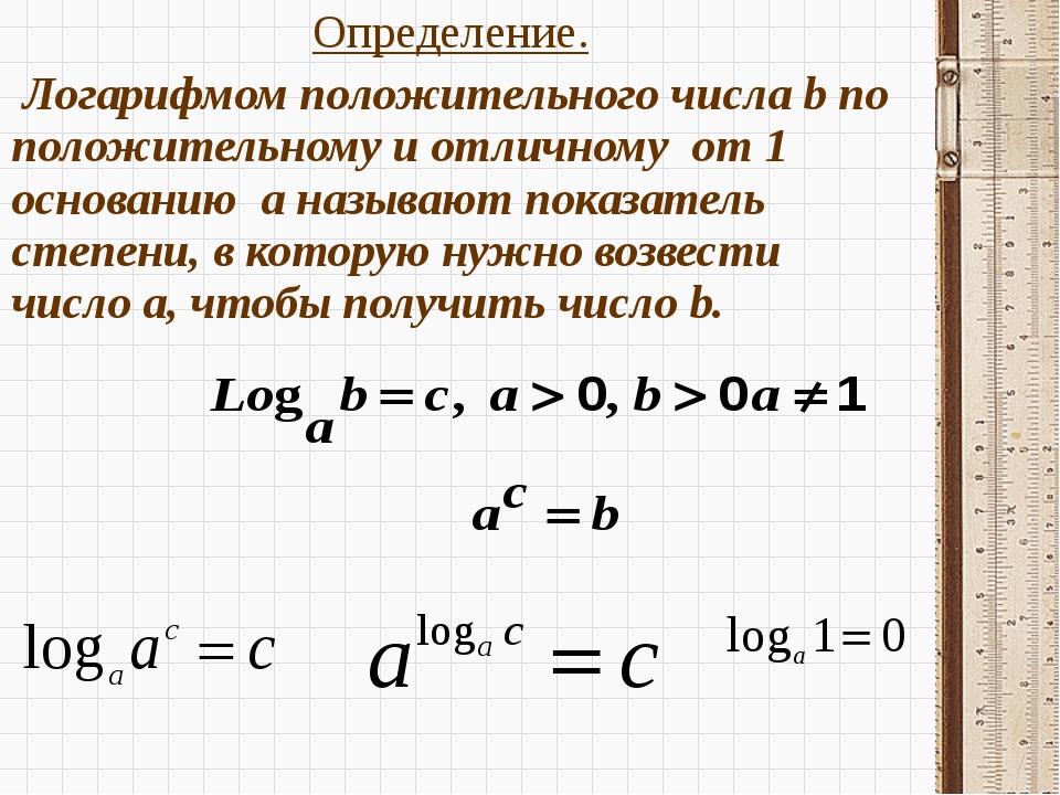 Определение. Определение.  Логарифмом положительного числа b по положительн...