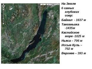 На Земле 6 самых глубоких озер: Байкал - 1637 м Танганьика -1435м Каспийское