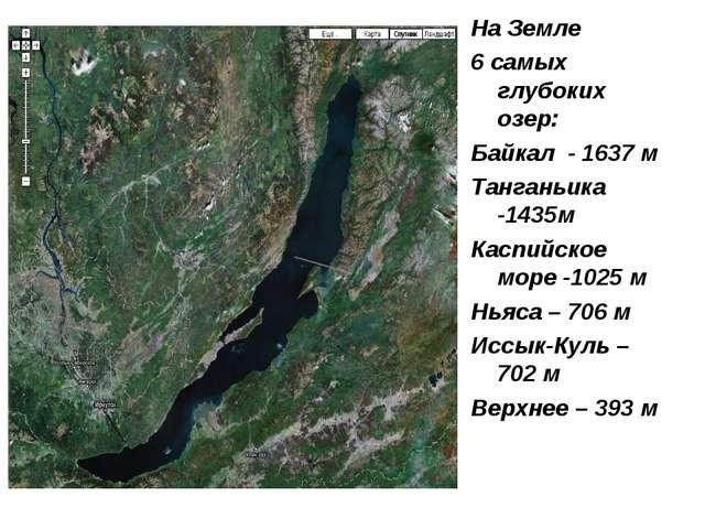 На Земле 6 самых глубоких озер: Байкал - 1637 м Танганьика -1435м Каспийское...