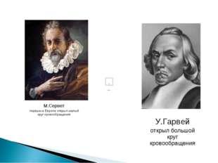 У.Гарвей открыл большой круг кровообращения М.Сервет первым в Европе открыл м