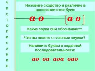Ч И С Т О П И С А Н И Е Назовите сходство и различие в написании этих букв: а