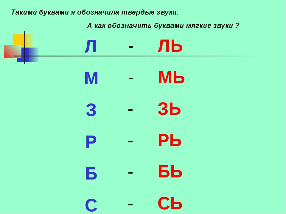 Л М З Р Б С - ЛЬ - МЬ - ЗЬ - РЬ - БЬ - СЬ А как обозначить буквами мягкие зву...