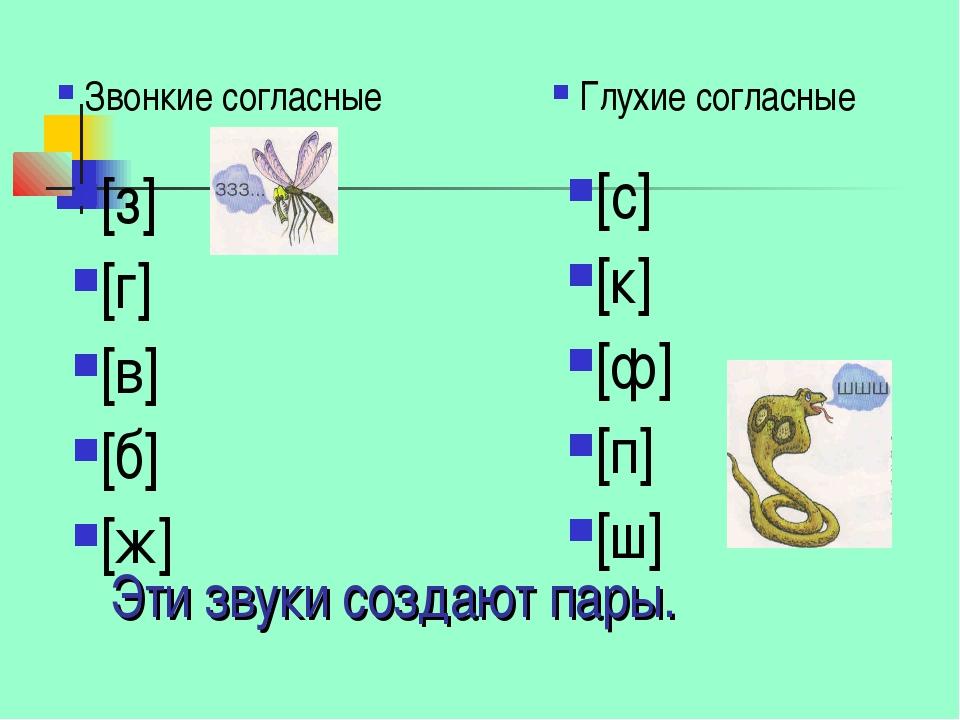 Эти звуки создают пары. Звонкие согласные [з] [г] [в] [б] [ж] Глухие согласны...