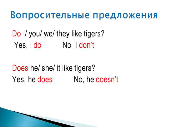 Do I/ you/ we/ they like tigers? Yes, I do No, I don't Does he/ she/ it like...