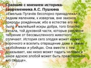 Сравним с мнением историка-современника А.С. Пушкина «Емелька Пугачёв бесспор