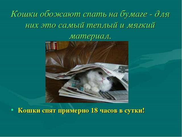 Кошки обожают спать на бумаге - для них это самый теплый и мягкий материал. К...