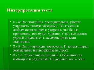 Интерпретация теста 0 - 4: Вы спокойны, рассудительны, умеете управлять свои