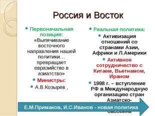Россия и Восток Первоначальная позиция: «Выпячивание восточного направления н