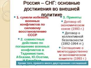Россия – СНГ: основные достижения во внешней политике 1. сумели избежать воен